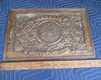 1867-1927 CANADIAN 60th Year Confederation Commemorative WALL PLAQUE 90 Years Old Rare Collectable Copper