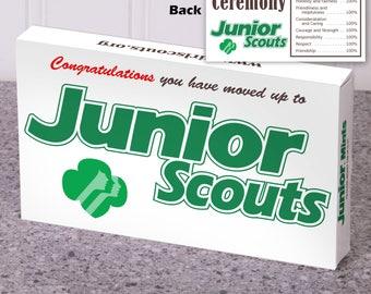 Instant Download! - Junior Scouts - 3.5 oz Junior Mints box Wrapper - Girl Scout Bridging Ceremony - Green Logo Design