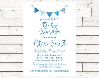 Baby Shower Invite- Blue- 5x7- Digital