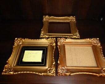 """Vintage Set of 3  Ornate Gold  Plastic Picture Frames 7 1/4"""" X 6 1/4"""""""