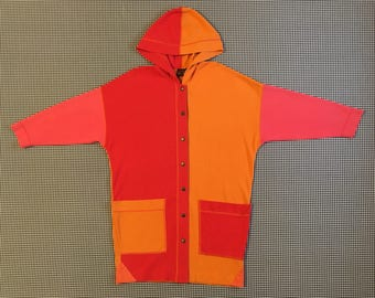 1990's, 3/4 length, jersey knit, colorblock, hooded, jacket, in red-orange, pink and orange, Women's size Small
