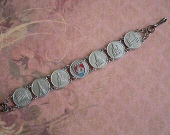 Vintage 1940s WWII Souvenir De Paris Bracelet
