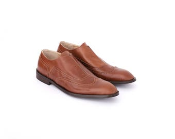 Leather mens shoes , mens oxfords , brown handmade dress shoes , florsheim , ADIKILAV