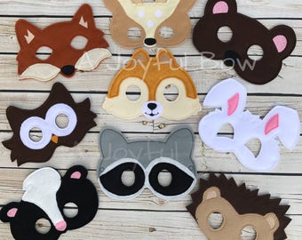 Woodland animal dress up and party favor masks, woodland birthday, animal birthday, forest party