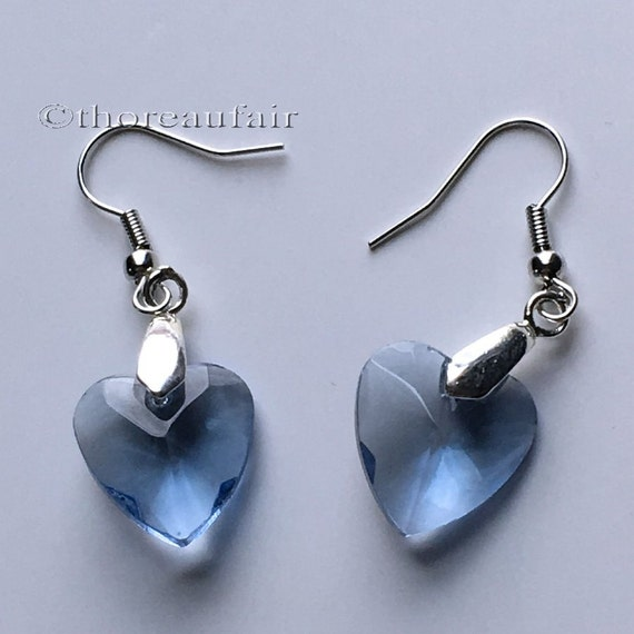Blue Heart Earrings - Handmade Jewelry - Valentine's Day Gift