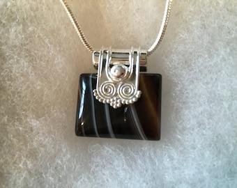 Banded Agate Gemstone Pendant Necklace in Sterling Silver Design