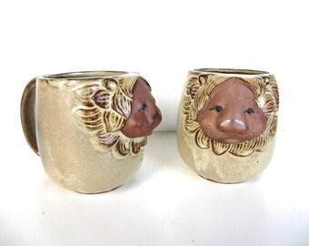 Vintage UCTCI Stoneware Lion Mug, 1970s Japanese Stoneware Figural Lion Cup