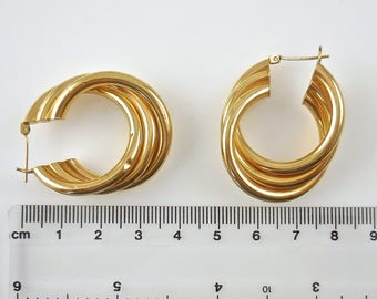 Earrings 14k Yellow Gold Hoop Twist  Earrings