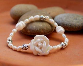 White Flower and Freshwater Pearl Bracelet - Supports Animal Rescue