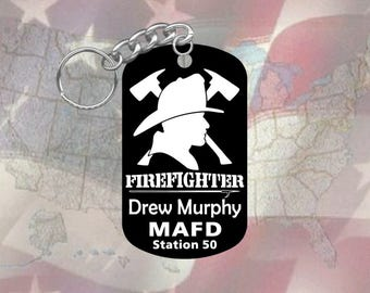 Firefighter Fire Dept - GI Dog Tag Keychain - Super Hard Black Anodized - Personalized