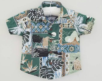 Green Aloha Shirt with Coconut Buttons, multiple sizes