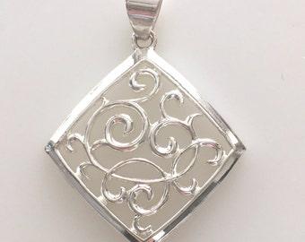 Vintage Sterling Silver Necklace Pendant