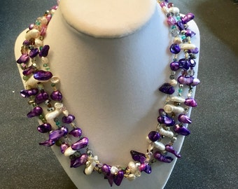 Multi-strand Pearl n Bead Necklace
