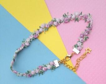 Choker Necklace, Boho Pastel Goth Flower Choker Necklace, Layering Jewelry Lace Chokers, Tumblr, Trendy, Kawaii Choker