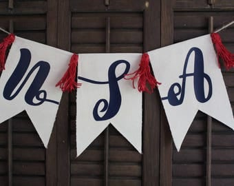 Ready to ship!! U.S.A. Pennant Banner | Memorial Day Banner |  4th of July Banner | Americana Decor | Canvas Pennant | Wall decor | FREE SHI