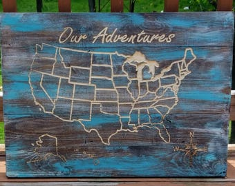 Wooden US map mark your travels map Adventure map log your travels