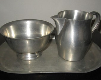 Estate Sale Find!! Vintage 1940 3 Piece brushed Pewter Creamer and Sugar set with Tray Nice Condition