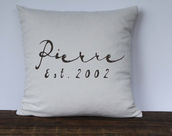 Farmhouse Personalized Pillow Cover, French Script Pillow, Decorative Pillow, Wedding Gift, Anniversary Gift, Housewarming Gift,