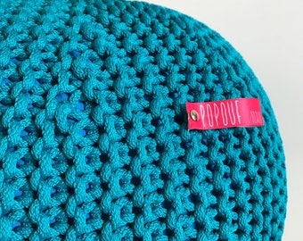 Turquoise Pouf | Knit Pouf | Outdoor floor cushion | Outdoor Pouf Ottoman | Footstool | Floor Pouf | Pouffe | Bean Bag | Meditation cushion