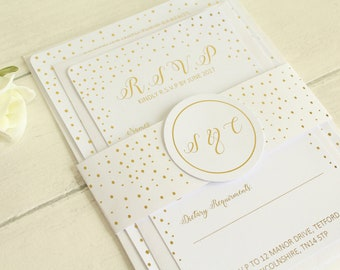 Personalised Wedding Invitation/RSVP Card/Details Card with Band in Gold/Silver/Rose Gold/ Champagne Gold/Colour Foils  Samples
