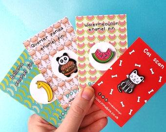 Enamel Pin set of 3, food pins, fruit pins, pins, pin set, animal gifts, cat pin, fun pins, funny pins, cute animal pins, pins and patches