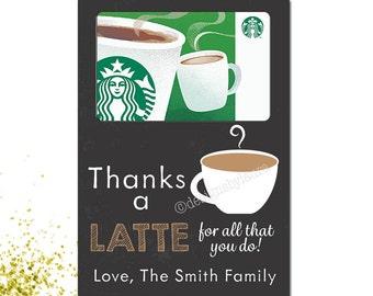 Thanks A Latte For All That You Do-Teacher Appreciation Gift Card Holder-Babysitter, Daycare, Grandparent Gift-Gift Card Holder