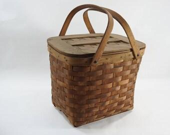Split Oak Picnic Basket, Vintage, Antique, Primitive Handwoven Split Oak Basket w/ Handles, Nails Metal Hardware, Old Basket, Free Ship