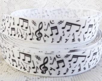 "Music Ribbon music notes 7/8"" grosgrain ribbon musical note ribbon"