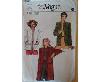 "Vintage 80's Vogue 8084 Very Easy Mandarin Collar Loose Fitting unlined Jacket Coat 3 Options Petite 3 Sizes 30'5"" 31.5"" 32.5""  UK 6 8 10"