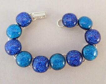 Blue Dichroic Fused Glass Bracelet, 7 Inch Bracelet, Fused Glass, Fused Glass Bracelet, Glass Bracelet, Dichroic Bracelet, Dichroic, Blue