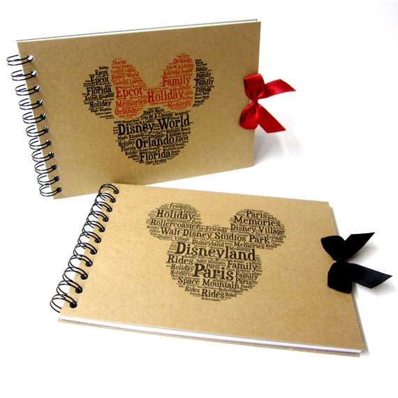 Disney Autograph Book, Mickey or Minnie Mouse, Disney Land or Disneyworld, Word Art, A5