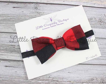 buffalo plaid red black check lumberjack {bow headband, flannel headband, fancy headband}