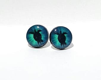 Sea Turtle Silhouette Post Earrings