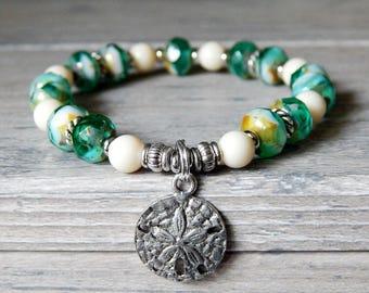 Sand Dollar Charm Bracelet, Beach Jewelry, Ocean Bracelet, Beach Bracelet, Ocean Jewelry, Beaded Bracelet, Sand Dollar Bracelet, Nautical