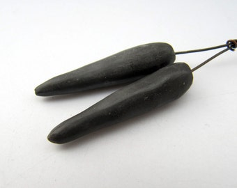 Burnished Sawdust Fired Spiked Pod Headpins - rustic charcoal grey black tribal primitive ceramic spike headpins, art beads, earring beads
