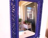 Large Refurbished Vintage Homco Mirror - Homco Resin Mirror - 1970 - Mid Century Modern - Purple - Dark Violet Mirror -