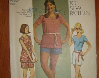 """Simplicity 9287 -young junior/teens' Tank Top Shirt and Shorts sewing pattern - Size 14 Bust 36"""""""