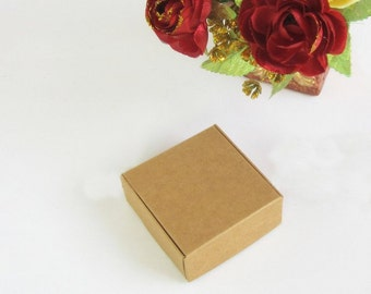 50x Natural Kraft Paper Boxes | Bomboniere Favour Box | Wedding & Party Gift Box for Chocolate Bakery Biscuit Cake Candy 7.5x7.5x3