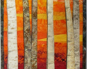 Art Quilt Landscape Birch Trees 8 in Autumn, Wall Quilt, Wall Hanging, Nature quilt