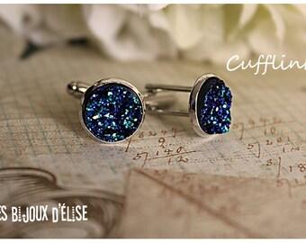 Sale - Blue Faux Druzy Cufflinks  Groomsman Best Man Gift (CF-7)