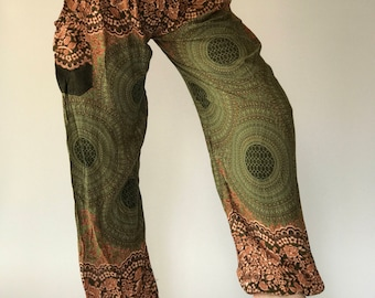 SM0043 Thai Genie Pants Comfy Trouser, Gypsy Pants Rayon Pants,Aladdin Pants Maxi Pants Boho Pants - in Green
