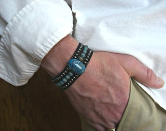 Blue Crazy Lace Agate, Hematite 3 Rows Black Leather Beaded Cuff Men's Bracelet, Men's Jewelry