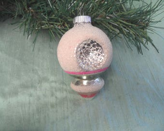 Shiny Brite frosted double indent glass Christmas ornament with drop teardrop  / vintage pink and mica