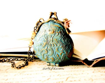 Purse necklace with custom message inside Personalized locket in Blue verdigris and Antique Bronze christmas gift for her - Keepin' the Love