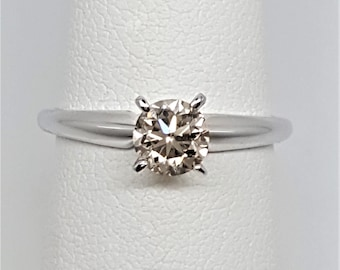 Champagne Diamond .72ct 14kt White Gold Solitaire Ring Size 6.75