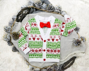 Christmas/Holiday Toddler Preppy Cardigan: Reindeer Ugly Sweater Party Print with Interchangeable Tie Shirt and Bow Tie