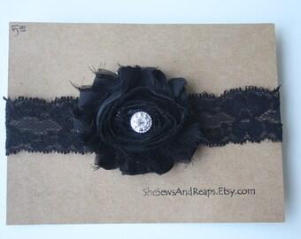 Black Shabby Flower on Black Elastic Lace