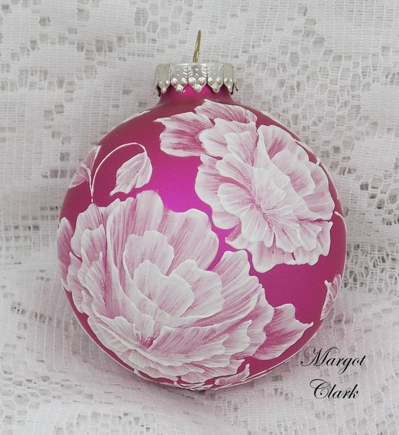Hot Pink Textured Floral Design Ornament with Pearls 180