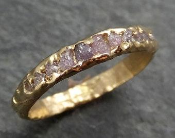 Custom Raw Rough Uncut Pink Diamond Wedding Band 14k Gold Wedding Ring byAngeline C0373