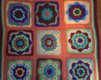 """Colorful  Crocheted Toddler Blanket 24"""" square"""